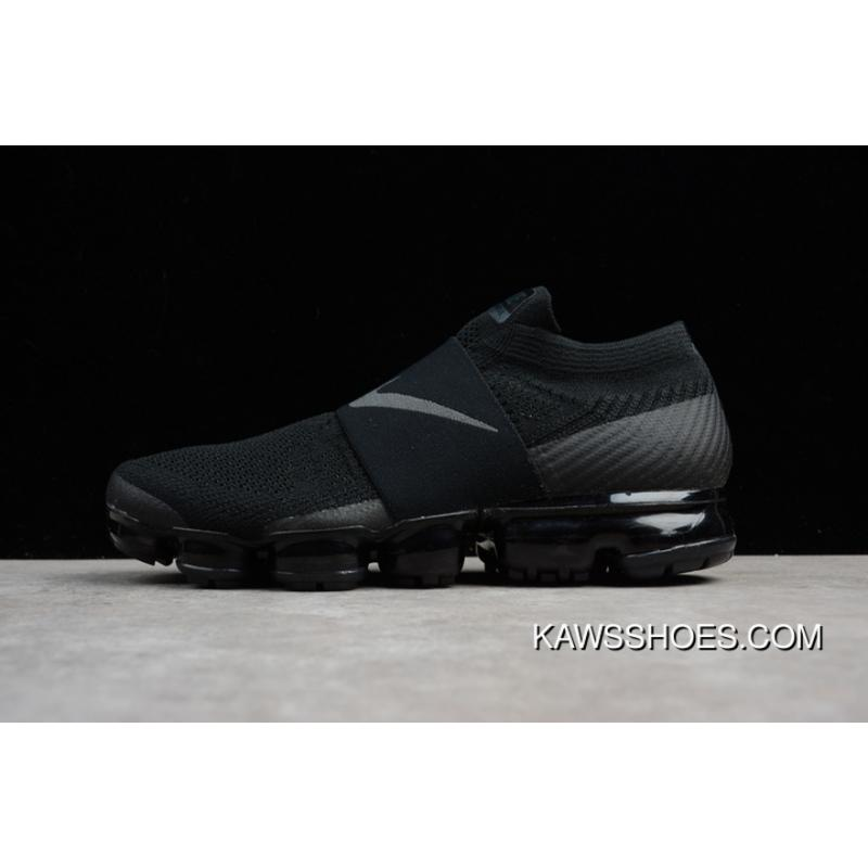 pretty nice 13adc d96a3 2018 SG Version Nike Air VaporMax Laceless Without Lace-up Slip-on Steam  Zoom Air Running Shoes Triple Black AH3397-004 Women Shoes And Men Shoes 17  ...