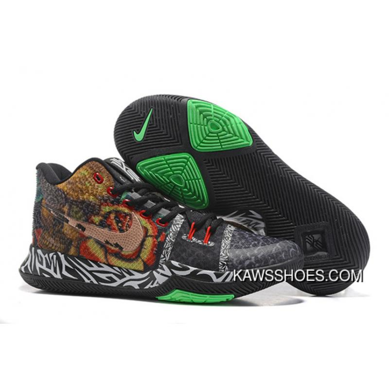 the latest 289ec f7746 New Nike Kyrie 3 Black Green Multicolor Shoes TopDeals