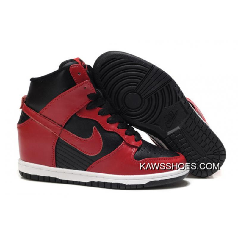 newest 65cd2 85248 New Nike Hi Dunk Wedge Sneakers 528899 700 Red Black Sky Shoes TopDeals ...