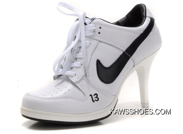 sports shoes 7471f a0ef3 New Nike High Heel Dunks Unlucky 13 White Black Shoes TopDeals