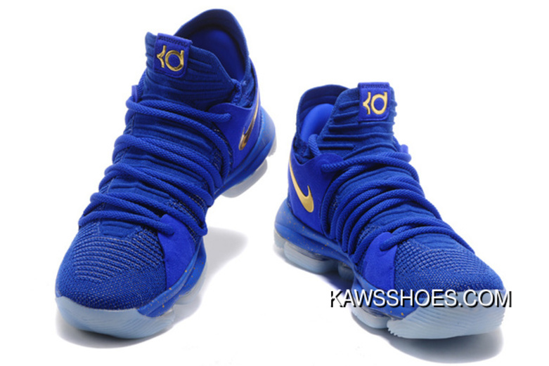 on sale dfe5a d58f2 New Blue Metallic Royal Gold Nike Kdx 10 Finals Pe Shoes TopDeals