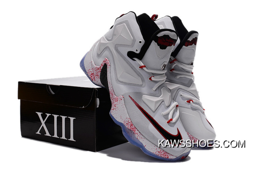 a505ce52219 New Nike Lebron 13 Black White Red Friday The 13Th Halloween University  Shoes TopDeals