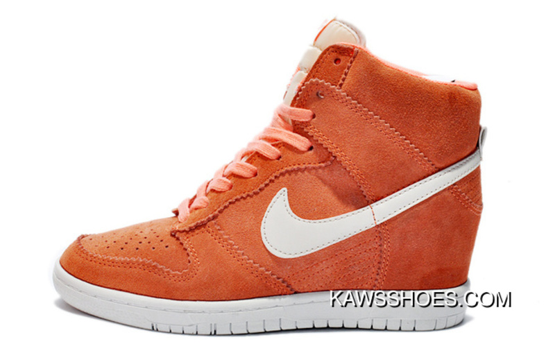 new product 0680d 56910 New Nike Dunk Hi Suede Wedges 528899 600 White Orange Sky Shoes TopDeals