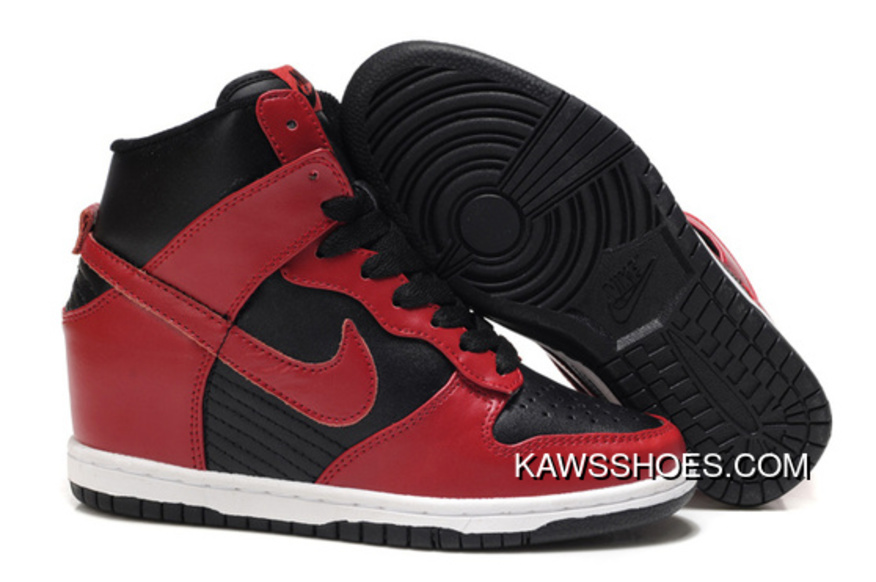 newest 7f2ec 27777 New Nike Hi Dunk Wedge Sneakers 528899 700 Red Black Sky Shoes TopDeals