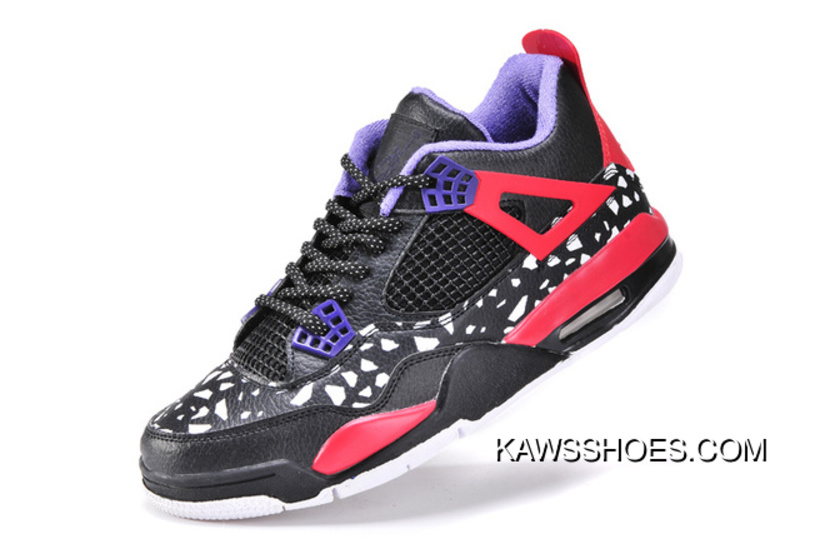 2ba17efefc66d2 New Air Jordan 4 Retro Womens Black White Red Purple Shoes TopDeals ...