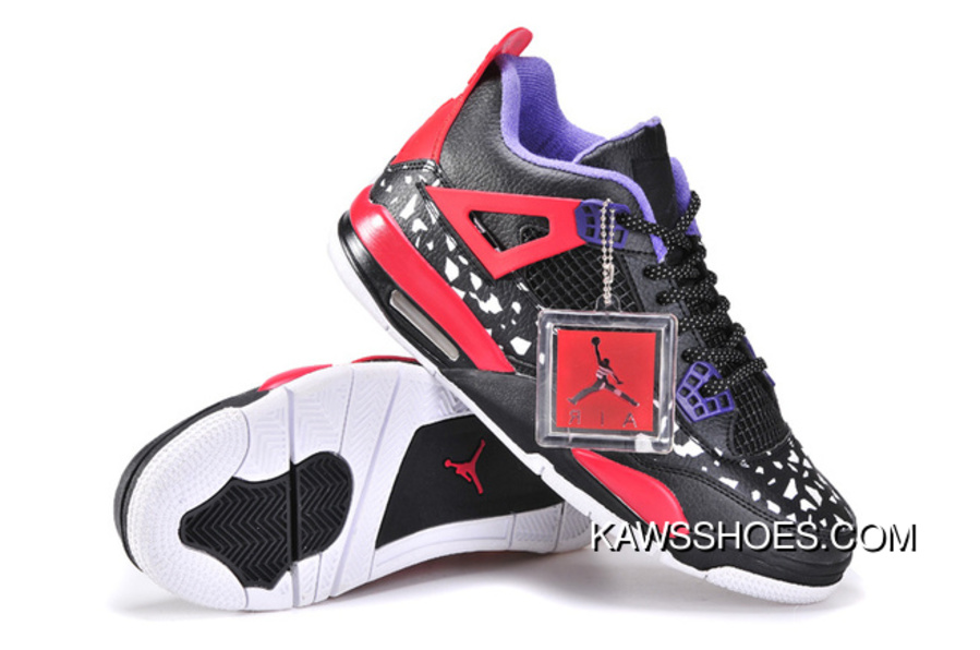 low priced a20ea be424 New Air Jordan 4 Retro Womens Black White Red Purple Shoes TopDeals