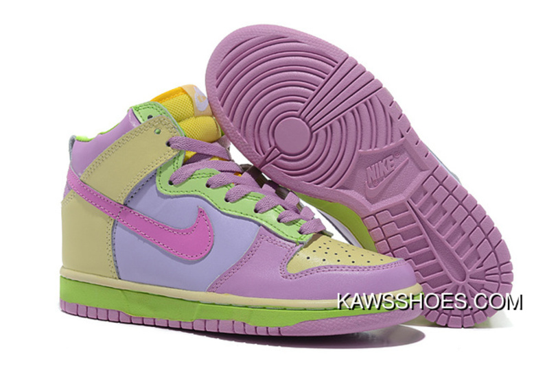 check out eca73 74d03 New Womens Purple Green Yellow Nike Dunk High Shoes TopDeals